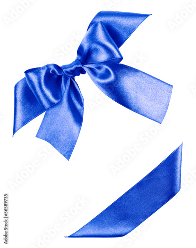 blue bow made from silk ribbon