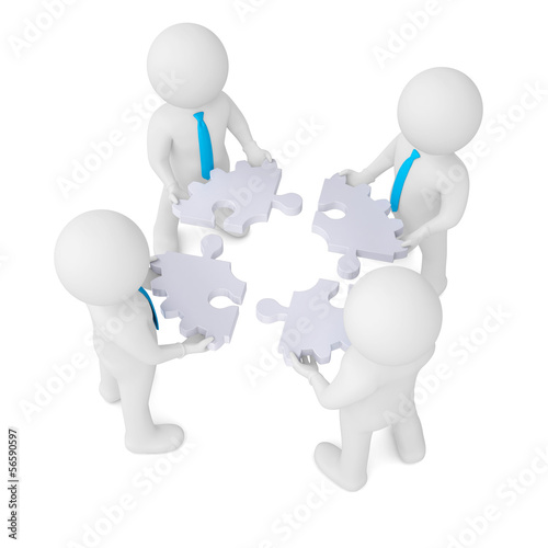Four man holding gear consisting of puzzles