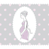 Background with hand drawn pregnant woman, vector illustration