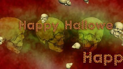 Happy Halloween Background Skulls Looping Animation