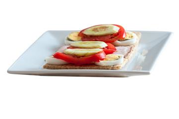 healthy food - sandwiches on crispy bread