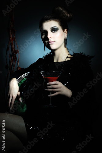 beautiful girl with red cocktail