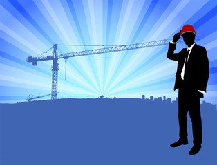 architect standing in front of construction site background