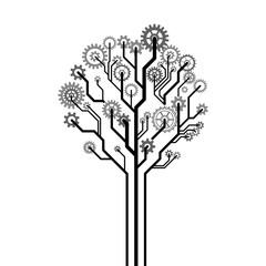 Vector tree made of gear wheels