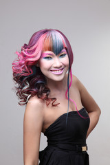 beautiful girl with dyed hair, professional hair coloring