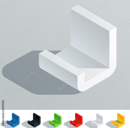 Solid colored letter in isometric view. Letter J