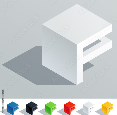 Solid colored letter in isometric view. Letter F