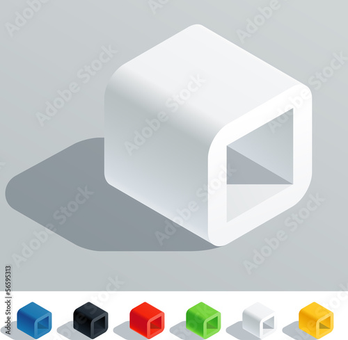 Solid colored letter in isometric view. Letter O