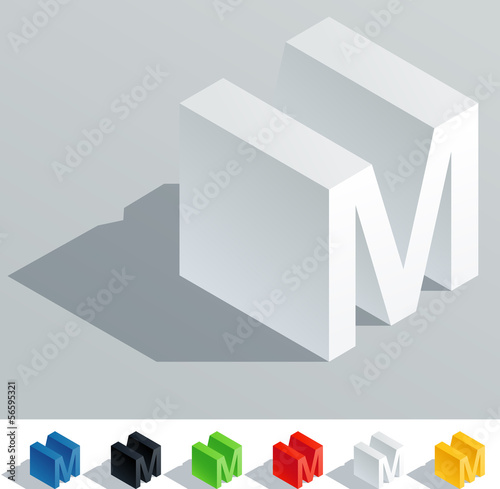 Solid colored letter in isometric view. Letter M