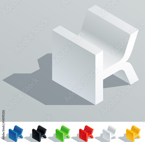 Solid colored letter in isometric view. Letter K