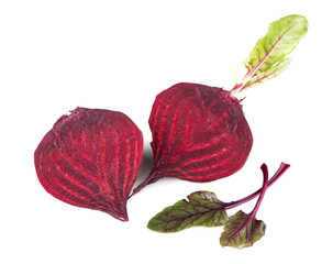 beet with leaves isolated on white background