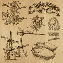 Traveling Holland - drawings into vector set 01