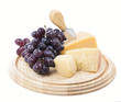cheese and fruit on a white background