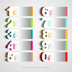 Infographics paper number options template - Vector illustration