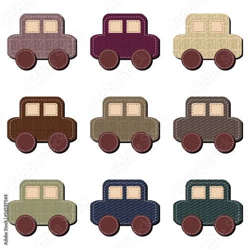 scrapbook cars on white background