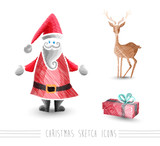 Merry Christmas sketch style elements set EPS10 file.