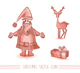 Merry Christmas sketch style red elements set EPS10 file.