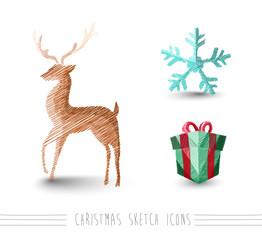 Merry Christmas sketch style reindeer elements set EPS10 file.
