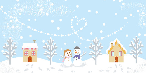 Winter landscape,two snowman