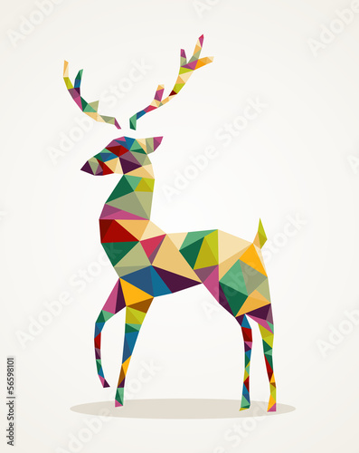 Poster Geometrische dieren Merry Christmas trendy abstract reindeer EPS10 file.