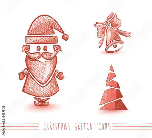 Merry Christmas red sketch style elements set EPS10 file.