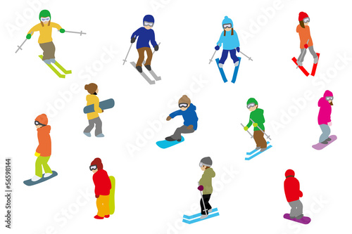 People playing winter sports, Isolated