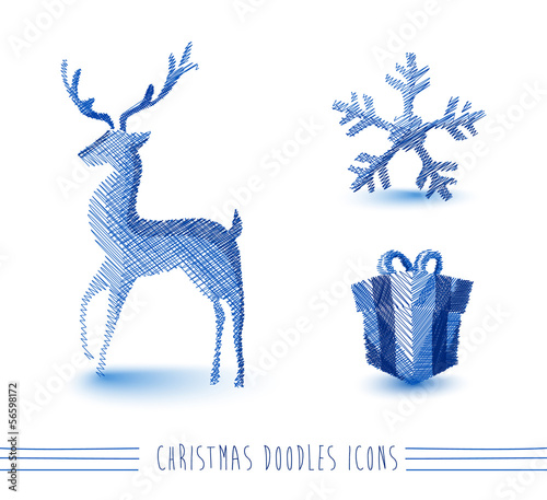 Merry Christmas blue sketch style elements set EPS10 file.