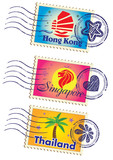 Asia country stamp icon set