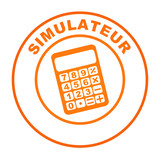 simulateur sur bouton web orange