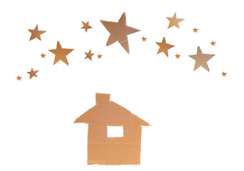house with stars, recycle paper sheet board white background