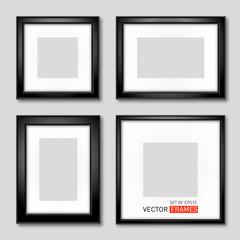 Set of vector black picture frames
