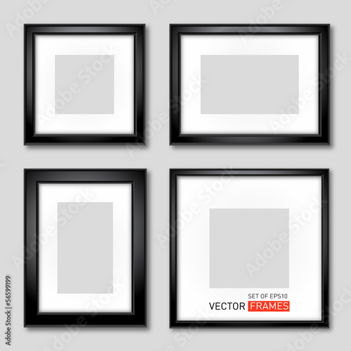 Set of vector black picture frames