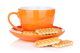 Cup of drink with crackers