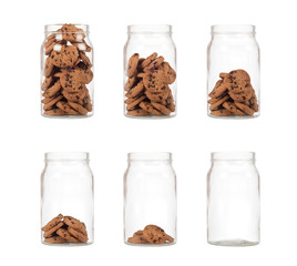Sequence of jar of cookies from full to empty isolated on white