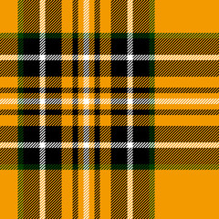 Tartan traditional british fabric seamless pattern, yellow black