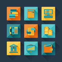 Set of business icons in flat design style.