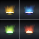 Set of four shiny rays in different colors