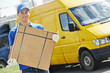 Delivery man with parcel box