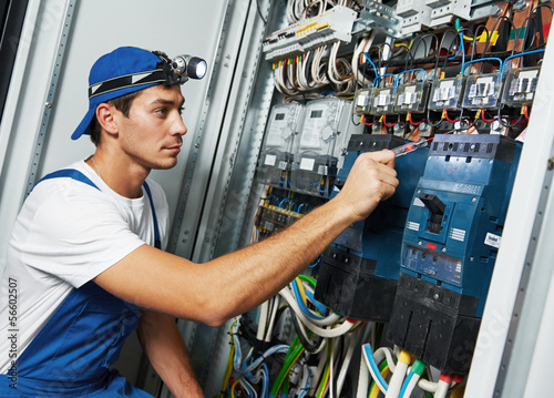Leinwanddruck Bild adult electrician engineer worker