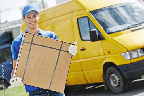 Delivery man with parcel box - 56602593