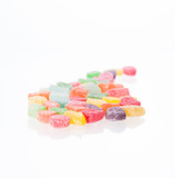 Colorful soft jellies candy over white background