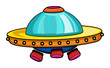 Cartoon colorful alien space ship