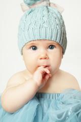 Little baby girl, cute face, birthday card