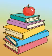 Vector illustration. Apple on books
