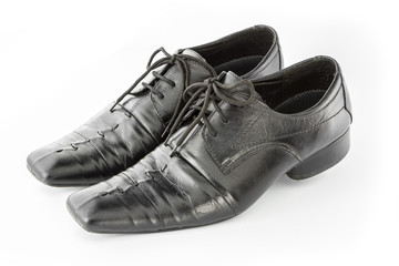 Black Leather shoes isolate