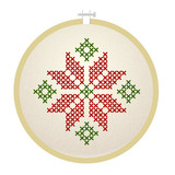 Vector embroidery hoop with holly flower