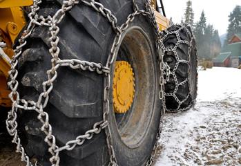 Snow chains on the big skidder wheels