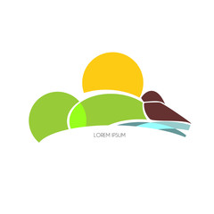 Graphic design - area with sun, sea, land and hill