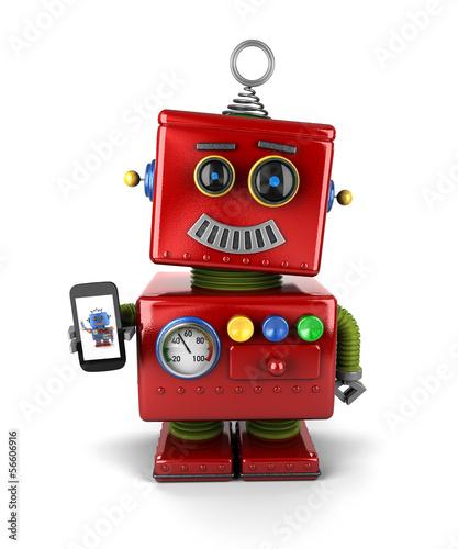 Vintage robot with smartphone - 56606916
