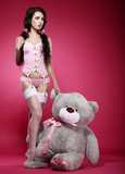 Fascinating Woman in Pink Lingerie with her Fondling - Soft Toy